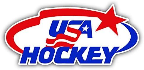 USA Sport Car Bumper Sticker Decal 6 X 3 hotprint Hockey Logo