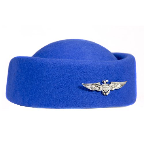 Costumes Attendant Accessories Flight (HMS Flight Attendant Hat, Blue, One)