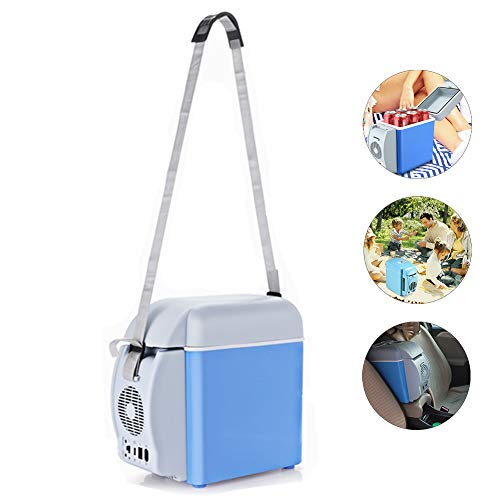LonTime Mini Portable Compact Personal Fridge - Electric Car Refrigerator, Freon-Free & Eco Friendly Mini Fridge with Cold and Hot Functionality (7.5 L) ()