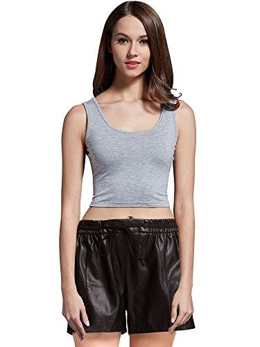MsBasic Womens Basic Sleeveless Short Fitness Cami Crop Tank Top Small Gray