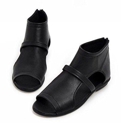 Easemax Womens Trendy Découper Sangle Peep Toe Haut Haut Flat Talon Zipper Sandales Noir