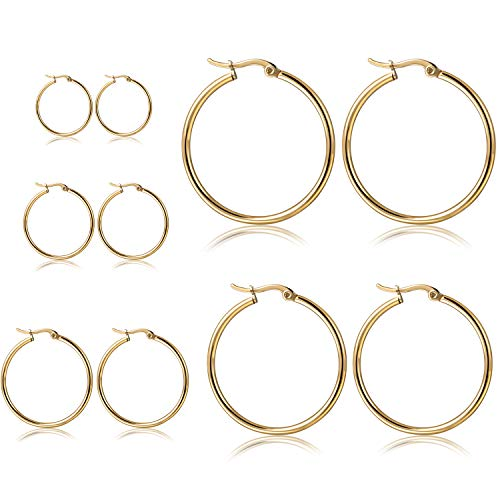 - Orris Pack of 5 Different Sizes, Titanium Steel Gold Plated Ear Hoop Earrings Set for Women Girls (From 1 to 5 cm)