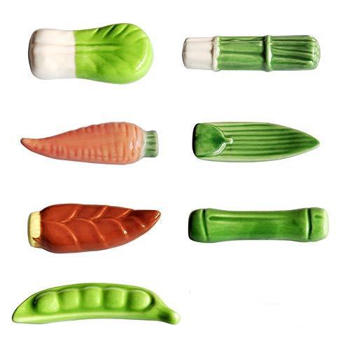 ORYOUGO Ceramic Chopsticks Holder, Tableware Cute Vegetable Design Chopstick Rack Pillow Care Rest for Knife Fork & Spoon-Set of 7 ()