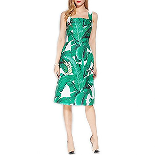 Venetia Morton Fashion Designer Runway Summer Dress Women's Dragonfly Beading Sequined Casual Green Banana leaf Floral Printed Dress