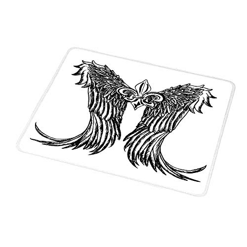 (Gaming Mouse Pad Custom Medieval,Tribal Wing Design Magic Spell Middle Ages Symbol of Power Artistic Design,Black and White,Non-Slip Personalized Rectangle Mouse pad 9.8