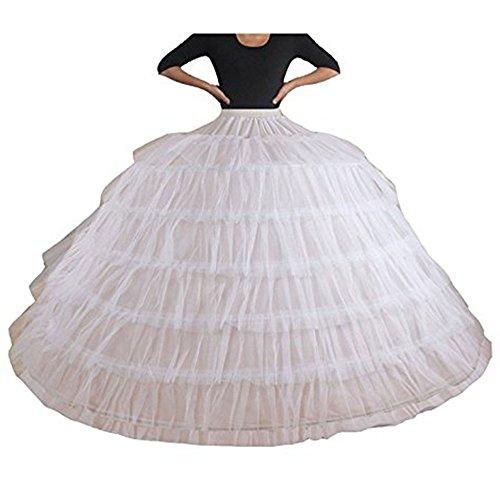 MLQM White Super Big 7 Hoops Bridal Underskirt Crinoline Prom Ball Gown Petticoat