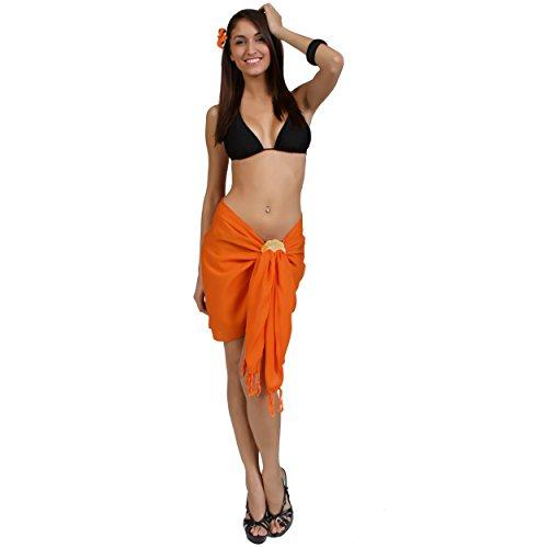 1World para mujer pareos Solid mitad/mini Bañador pareo en color de su elección Anaranjado