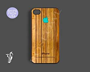 Wooden iphone 5s case, iphone 5s cover - Unique Wood design Teal Apple Iphone...
