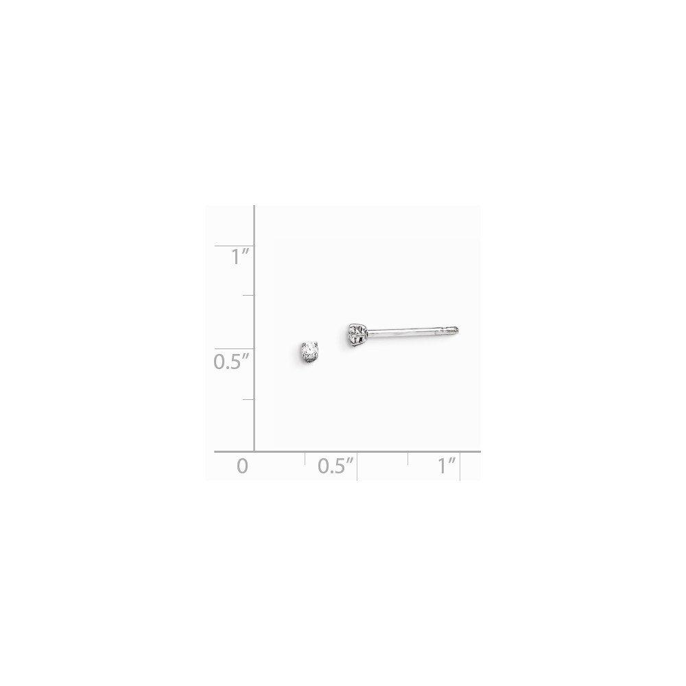 Jewel Tie Sterling Silver 2mm Round CZ Cubic Zirconia Stud Earrings