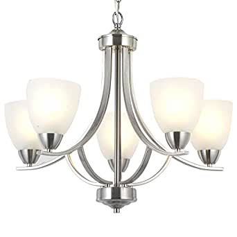 VINLUZ 5 Light Contemporary Chandeliers Brushed Nickel Modern Light Fixtures Ceiling Hanging Industrial Pendant Lighting for Foyer Bedroom Dining Room Bathroom