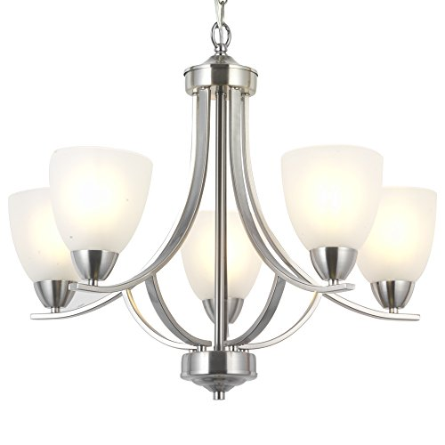 Contemporary Fixture (VINLUZ 5 Light Contemporary Chandeliers Brushed Nickel Modern Light Fixtures Ceiling Hanging Industrial Pendant Lighting for Foyer Bedroom Dining Room Bathroom)