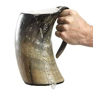 AleHorn hecho a mano de 36 oz - 1 LITRO - Acabado Natural Cuerno jarra de cerveza que bebe