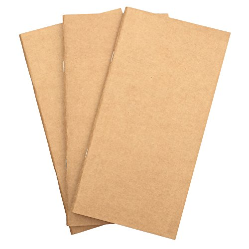 "Travelers Notebook Refill 8.5"" x 4.5"" (Set of 3) Thick 100gsm Regular Inserts for Leather Journal - 192 Pages Lined, Blank, Grid Paper"