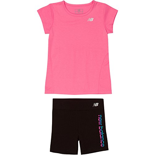 Price comparison product image New Balance Toddler Girls' Athletic Tee and Bike Short Sets, Pink/Black, 4T