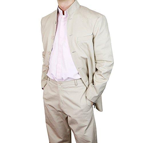 Veste de costume à col Mao en coton beige