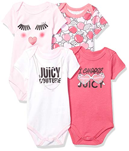 - Juicy Couture Baby Girls 4 Pieces Pack Bodysuits, Pink/Watermelon/White 6-9 Months