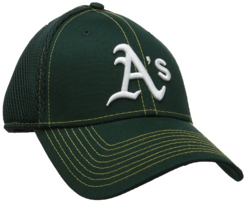 fan products of MLB Oakland Athletics Neo Fitted Baseball Cap, Small/Medium, Hunter Green with Yellow Stitching
