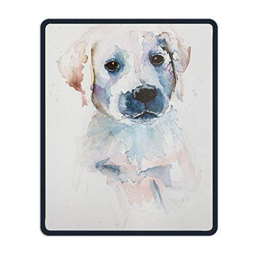 (Watercolor Illustration of Dog Gaming Mouse Pad/Mat with Smooth Silk Surface Stitched Edges)