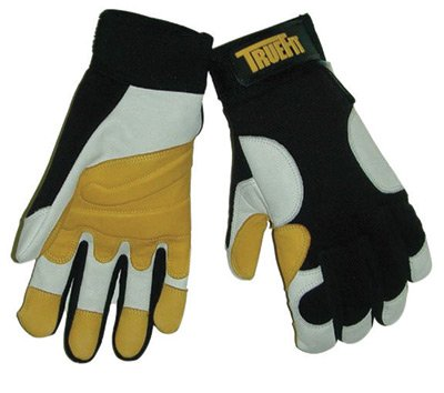 Tillman Large Black, Gold And Pearl TrueFit Full Finger Top Grain Goatskin Super Premium Mechanics Gloves With Elastic Cuff, Nylon Spandex® Back, Goatskin Double Palm And Thumb, Reinforced Fingertips And Additional Padding - Tillman Large Pearl