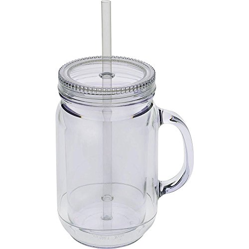 Culver Double Walled Insulated Plastic Mason Jar Tumbler with Twist Lid and Straw, 20-Ounce, Clear