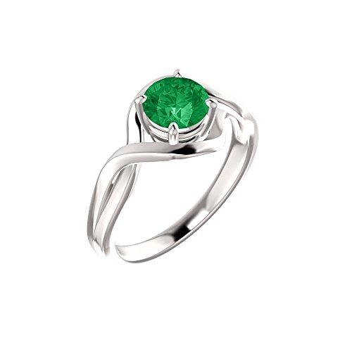 Bonyak Jewelry 14k White Gold 5mm Round Chatham Lab-Grown Emerald Ring - Size 7