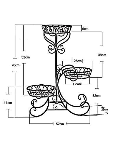 LB huajia ZHANWEI Estante de Flores Plancha de Hierro 3-Layer Flowerpot Rack Estanterías Sencillas Europeas para Interiores y Exteriores (Color : Blanco, ...