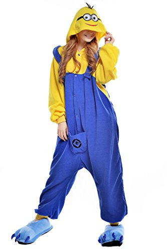 NEWCOSPLAY Halloween Adult Pajamas Sleepwear Animal Cosplay Costume (S, Minion)]()