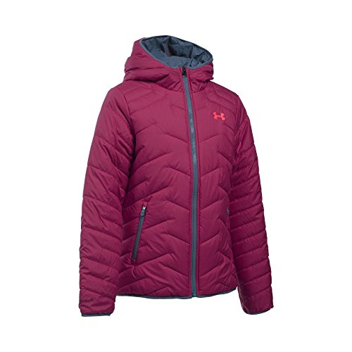 Under Armour Girls' ColdGear Reactor Hooded Jacket, Black Cherry/Aurora Purple, Youth Large by Under Armour