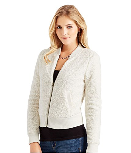 (Aeropostale Womens Sherpa Bomber Jacket, Off-White, Small)