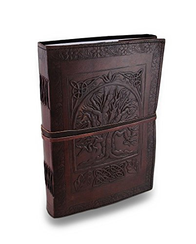 Handmade Vintage Antique Looking Large Tree of Life Leather Bound Journal Diary Notebook Travel Book with Blank Unlined Pages to write for Men Women Gift for him her - Leather Journal Blank Book