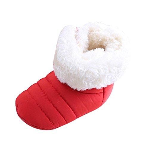 Babyschuhe Longra Baby erste Walker Kleinkind Wohnungen Boot Schuhe aus Baumwolle Schnee Stiefel( 0-11Monate) Red