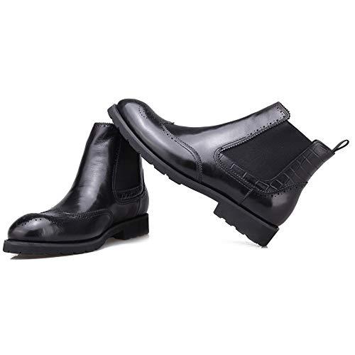 Slip Brogue Black Merryhe Moda Genuinos Chelsea Para Biker Botines Zapatos On Round Toe Boots Cuero De Motocicleta Hombres R0UdqnUTF