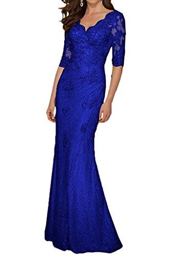 Langes Marie Ballkleider Blau Brautmutterkleider Promkleider Abendkleider Spitze Champagner Damen Braut Royal La R0xn8ZFF