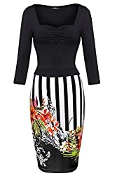 FINEJO Women Vintage 3/4 Sleeve Office Work Business Party Bodycon Dress,Rose Red,3X