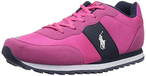 Polo Ralph Lauren Kids Girls' Zaton Sneaker, Fuchsia Microsuede, 13.5 Medium US Little - By Us Polo Lauren Ralph