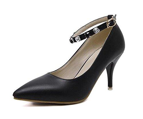 Pointure Toe Court Chaussures minces avec des chaussures à talons hauts Sexy Buckle Diamond Shoes , black , 36