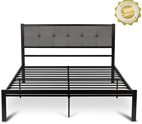 Amooly Full Size Upholstered Bed Frame Platform Bed withTufted Headboard Mattress Foundation Box Spring Optional Strong Metal Slat Support