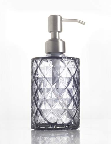 Gray Lotion - Liquid Soap Dispenser Bottle, Countertop Lotion Clear with Stainless Steel Pump, BPA Free, Refillable Clear Glass Soap Dispenser Bottle, Perfect for Liquid Soap, Essential Oils and Lotions (Gray)