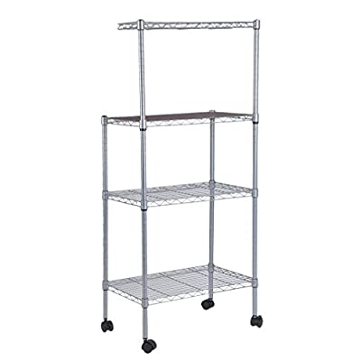 4-Tier Bakers Rack Microwave Stand Storage Rack, Adjustable Kitchen Bakers Rack Stainless Steel Microwave Oven Stand Household Storage Cart Workstation Shelf