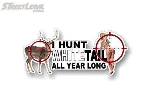 Street Legal Decals 1- I Hunt White Tail Vinyl Decal Buck Deer Hunting 4x4 Truck Gun Arms Rifle Camo Storage Safe Sticker ((1) 6