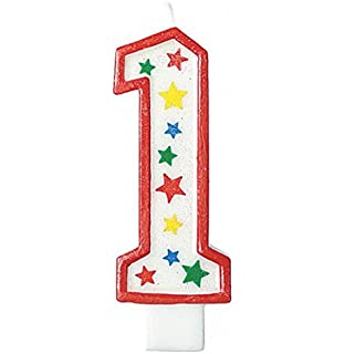 Givi Italia 51461 Numeral 1 Glitter Giant Candle Multi Colour 135 Cm