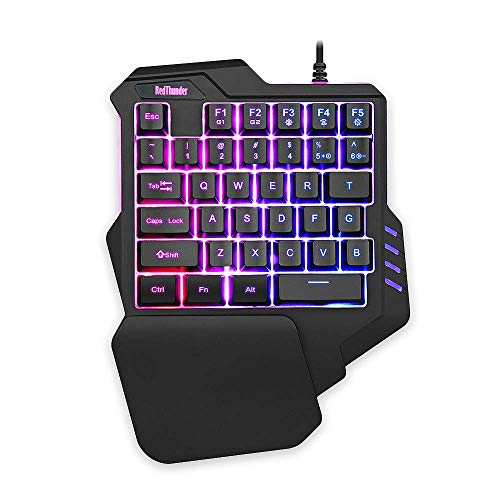 RedThunder One-Handed Gaming Keyboard RGB Backlit 35 Keys Portable Mini Gaming Keypad Ergonomic Game Controller for PC PS4 Xbox Gamer