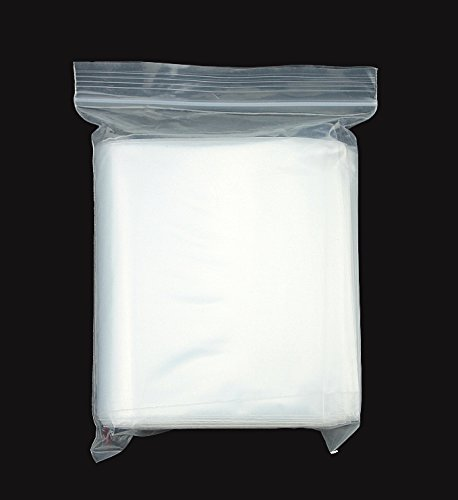 GSSUSA Resealable Poly Bags Reclosable Plastic Bags Zip Bags, Clear, 2 Mil, Pack of 100 (9