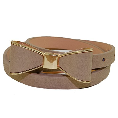 Adorable Skinny Belt with Coordinating Color/Gold Bow (taupe) (Bow Taupe)