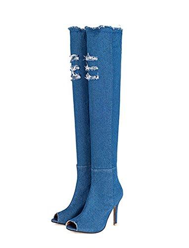 Strappati Denim Jeans Stivali Estate toe Boots Coscia Ginocchio Sopra Minetom Autunno Peep Alti Azzurro Donna Sandali fTwAqt8