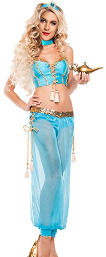 [FQHOME Womens Dancer Sexy Belly Dancer Costume(Blue)] (Tuxedo Mask Costume Sale)