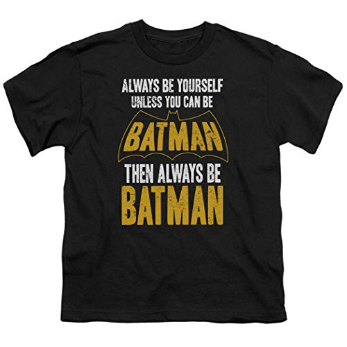 Youth Tee Batman - Batman Always Be Yourself Youth DC Comics T Shirt & Exclusive Stickers (Large)
