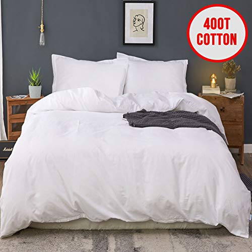 MOYMO 100% Cotton 3 Pieces Duvet Cover Set with Hidden Zipper Closure,400 Thread Count Ultra Soft Duvet Cover,Durable And Fade Resistant Bedding Duvet Cover With Ties(White,California King)