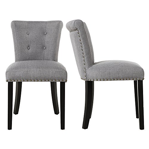 (LSSBOUGHT Modern Elegant Button-Tufted Upholstered Dining Room Chairs with Solid Wood Legs, Set of 2, Gray)