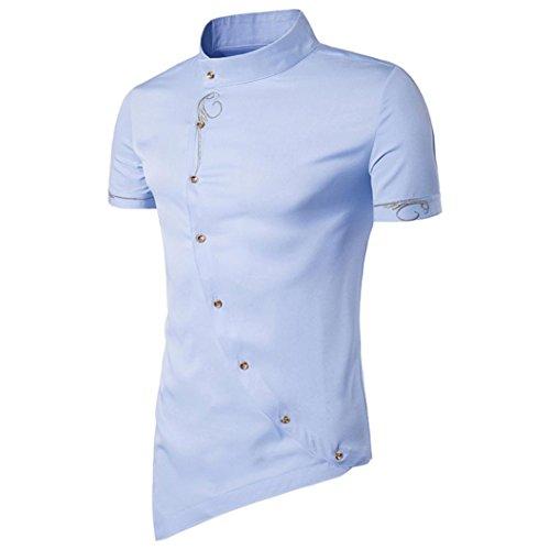 Anxinke Men Solid Oblique Hem Slim Fit Buttons Short Sleeve Stand Colloar Shirts (L, Blue) by Anxinke